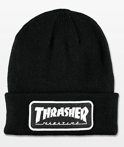 Beanie Trasher Patch Logo Black