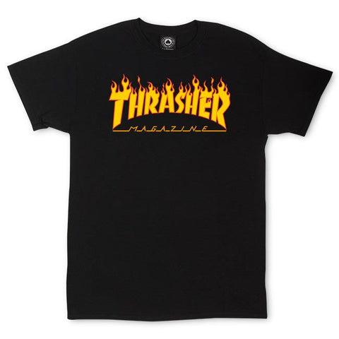 Polo Trasher Flame Logo Black