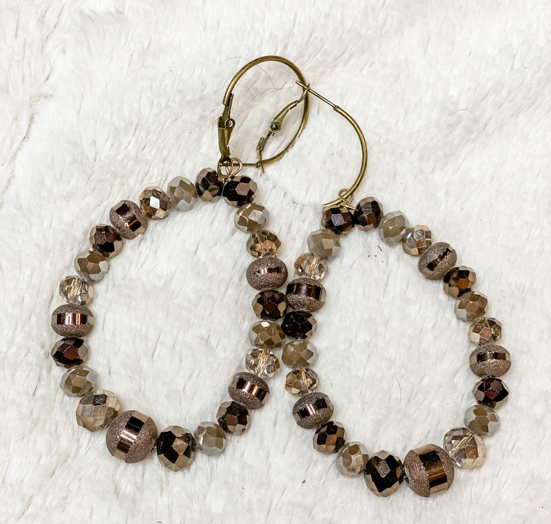 Beige Brown & Bling Earrings
