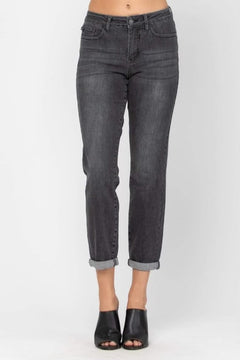 Judy Blue Mid Rise Distressed Charcoal Jeans