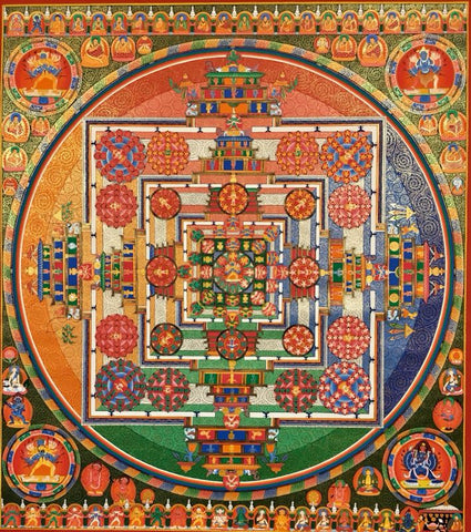 Kalachakra Mandala, 6.0g, cotton canvas, 80cmx90cm, vegetable pigment with 24 carat gold.