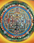Kalachakra mandara, hand-painted, gouache and pure gold on cotton