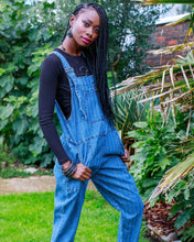 Load image into Gallery viewer, Blue Stone Wash Stripe Baggy Stretch Denim Dungarees - The Norse Nook Ltd