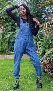 Blue Stone Wash Stripe Baggy Stretch Denim Dungarees - The Norse Nook Ltd