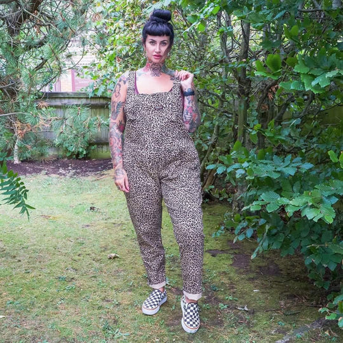 Natural Leopard Stretch Twill Dungarees