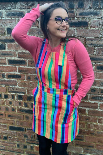 NEW Rainbow Colours Stretch Twill Pinafore