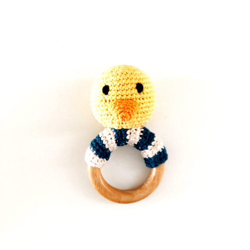Duck Wooden Rattle Teether Ring