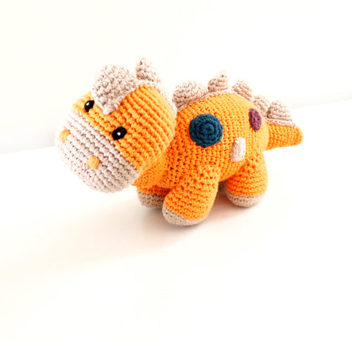 Soft Orange Steggi Dinosaur Rattle