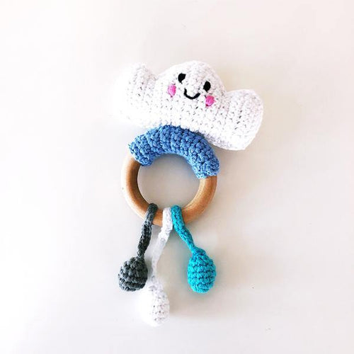 Cloud Wooden Rattle Teether Ring