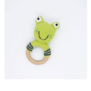 Frog Wooden Rattle Teether Ring