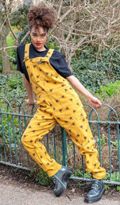 Bees Knees Gold Stretch Twill Dungarees - The Norse Nook Ltd
