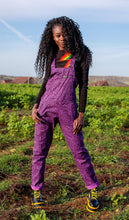 Load image into Gallery viewer, Purple Leopard Stretch Twill Dungarees
