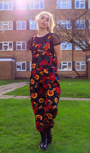 Floral Stretch Twill Dungarees