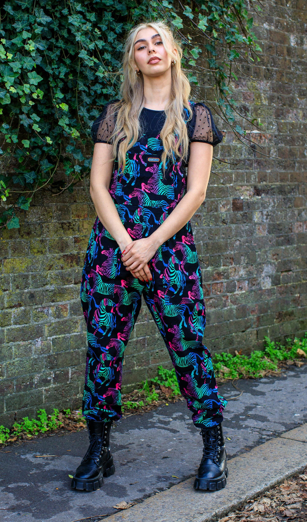 Rainbow Zebra Stretch Twill Dungarees - The Norse Nook Ltd