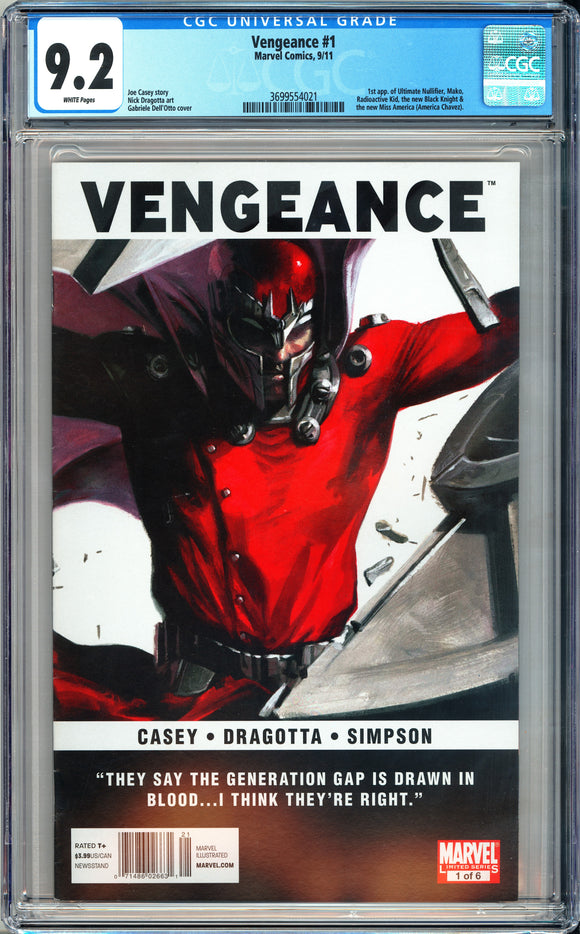 Vengeance #1 CGC 9.2 White Pages ~Newsstand Variant~