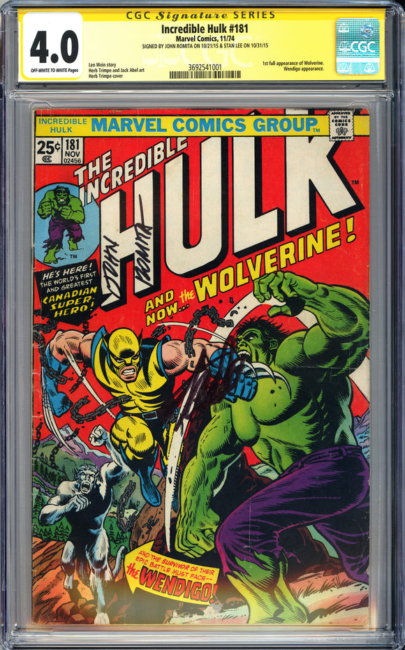 Incredible Hulk #181 CGC 4.0 Off-White to White Pages