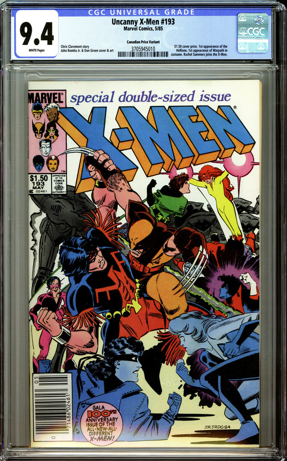 Uncanny X-Men #193 CGC 9.4 White Pages ~Canadian Price Variant~