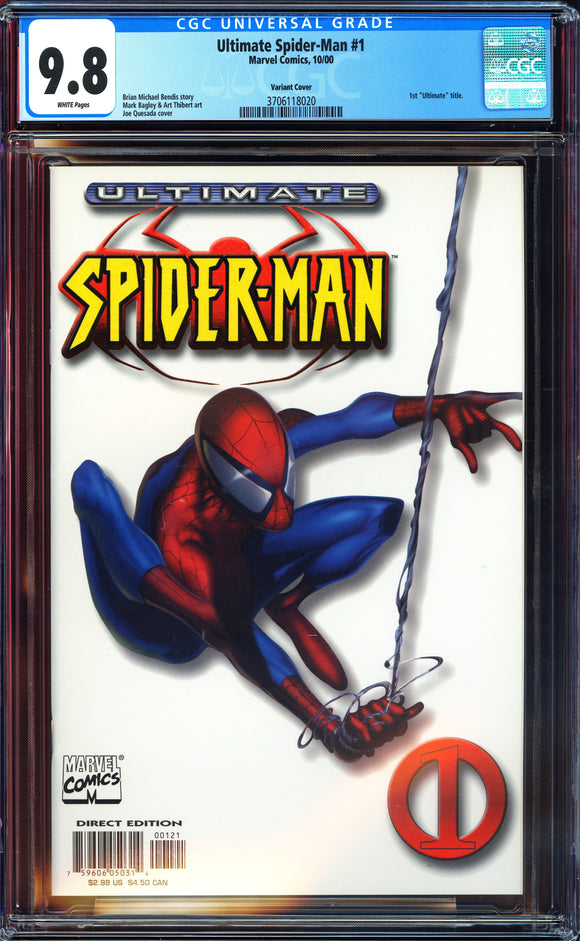 Ultimate Spider-Man #1 CGC 9.8 White Pages ~Variant Cover~