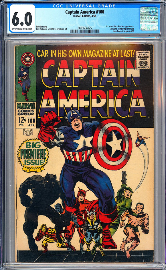 Captain America #100 CGC 6.0 Off-White to White Pages