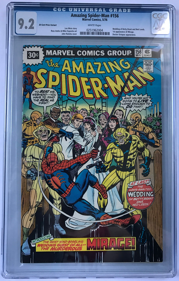 Amazing Spider-Man #156 CGC 9.2 White Pages ~ 35 CENT VARIANT ~