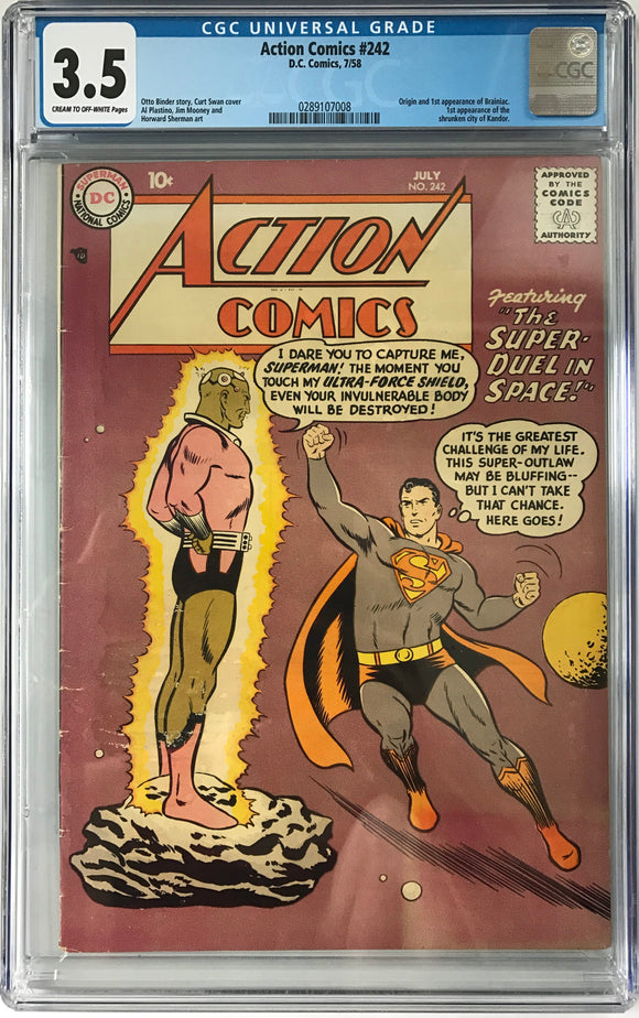 Action Comics #242 CGC 3.5 Cream To Off-White Pages