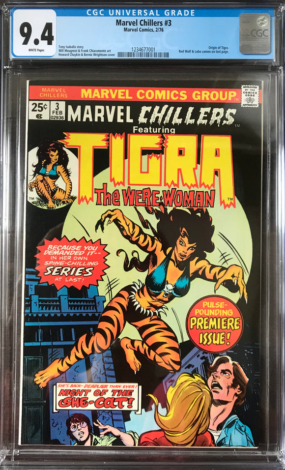 Marvel Chillers #3 CGC 9.4 White Pages