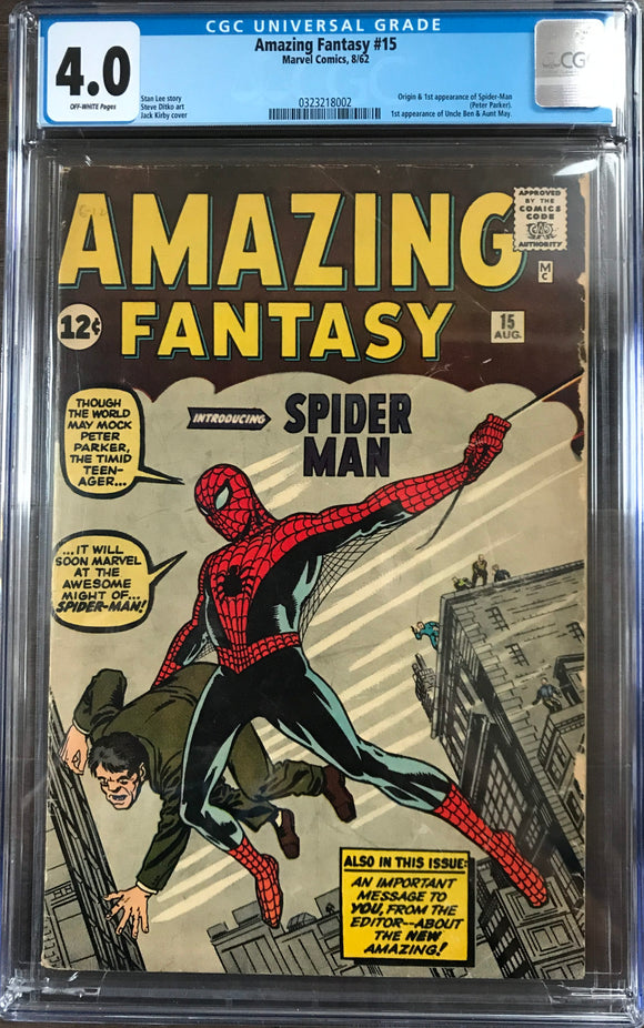 Amazing Fantasy #15 CGC 4.0 Off-White Pages
