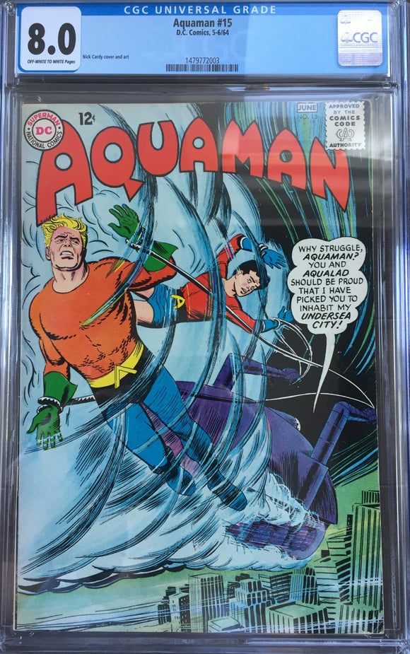 Aquaman #15 CGC 8.0 Off-White To White Pages