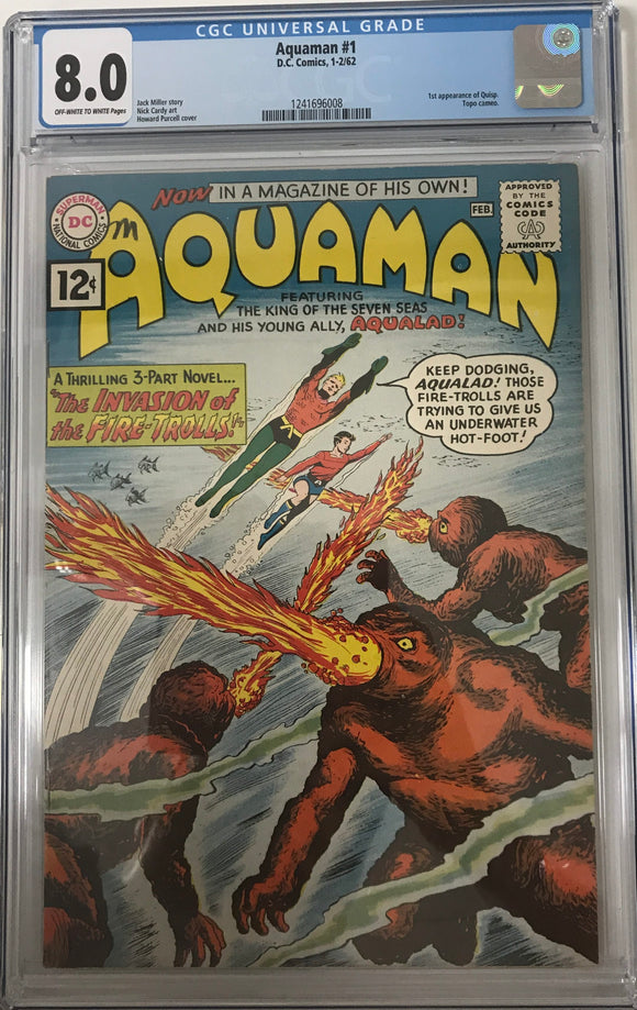 Aquaman #1 CGC 8.0 Off-White to White Pages