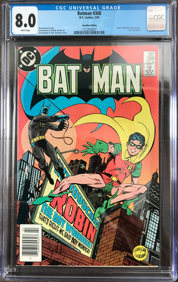 Batman #368 CGC 8.0 White Pages ~CANADIAN VARIANT~