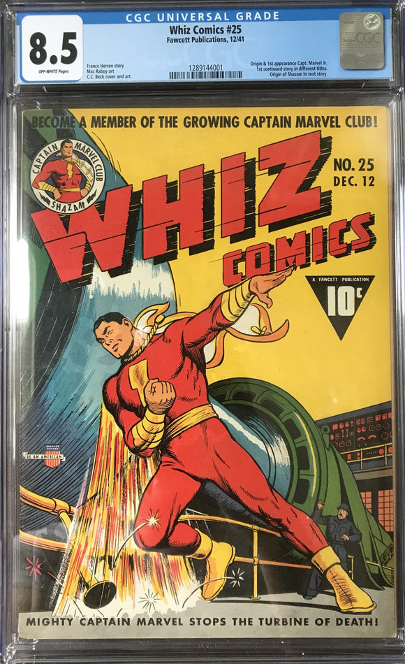 Whiz Comics #25 CGC 8.5 Off-White Pages