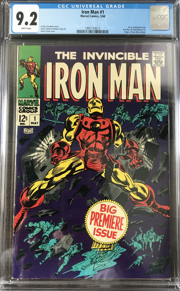 Iron Man #1 CGC 9.2 White Pages
