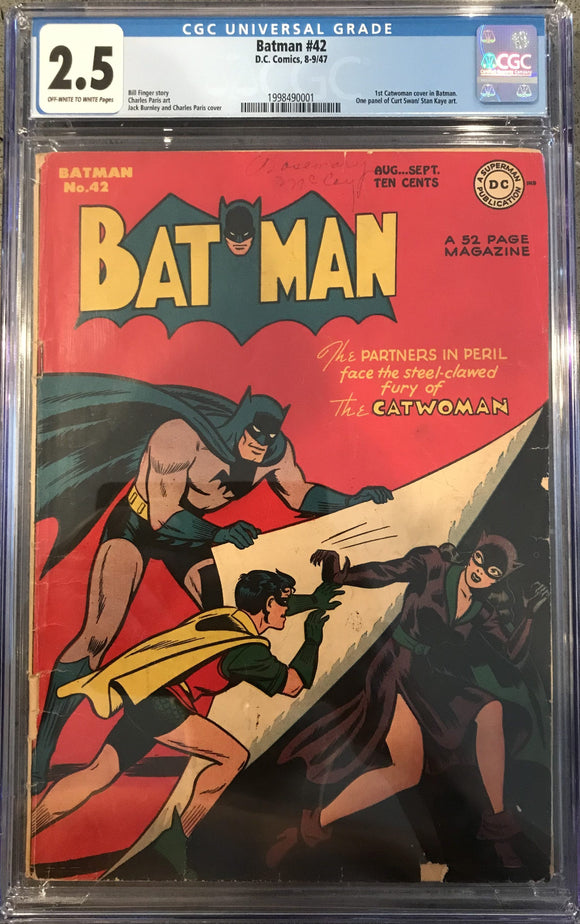 Batman #42 CGC 2.5 Off-White to White Pages