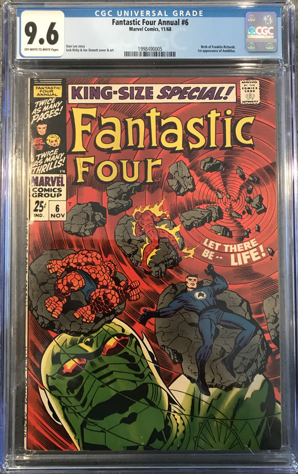 Fantastic Four Annual #6 CGC 9.6 Off-White to White Pages