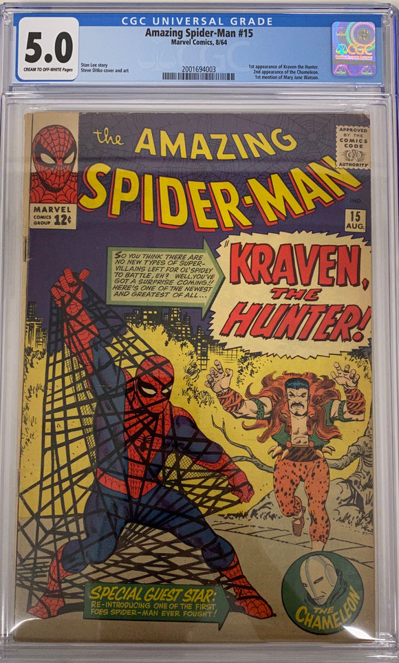 Amazing Spider-Man #15 CGC 5.0 Cream to Off-White Pages