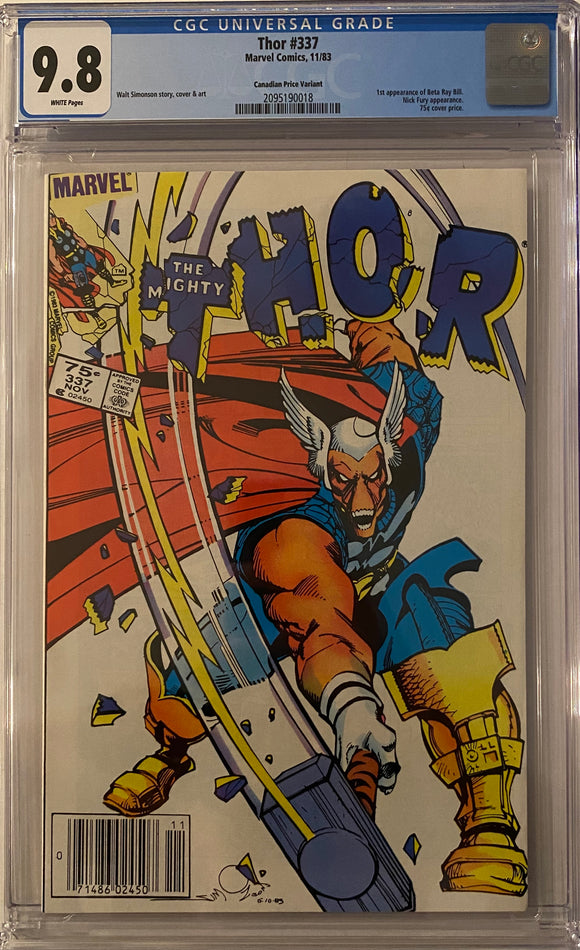 Thor #337 CGC 9.8 White Pages ~CANADIAN PRICE VARIANT~
