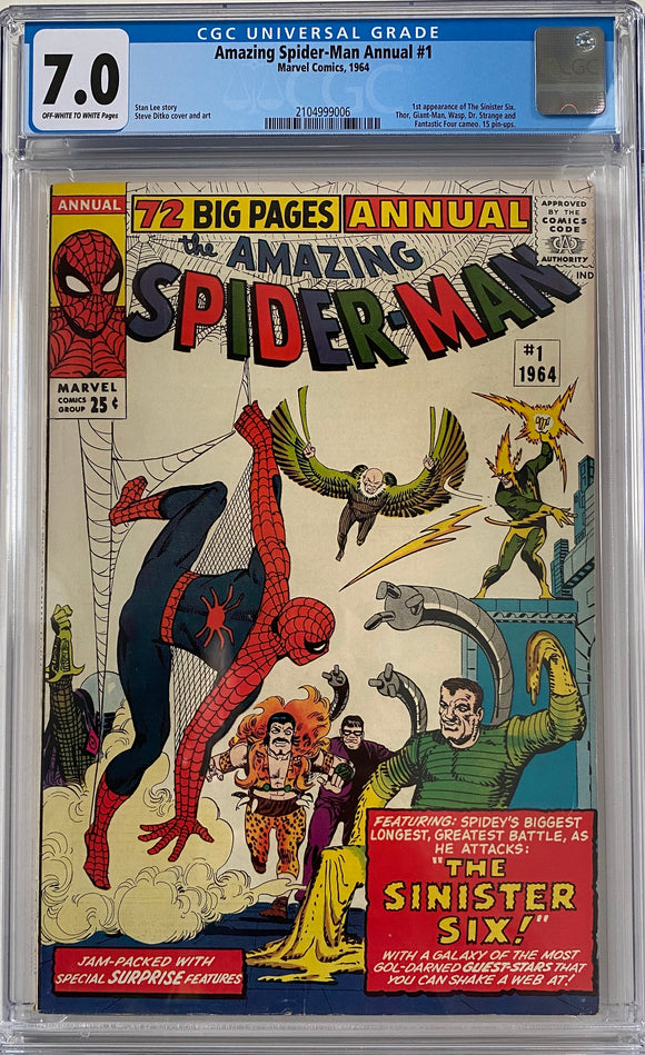 Amazing Spider-Man Annual #1 CGC 7.0 Off-White to White Pages