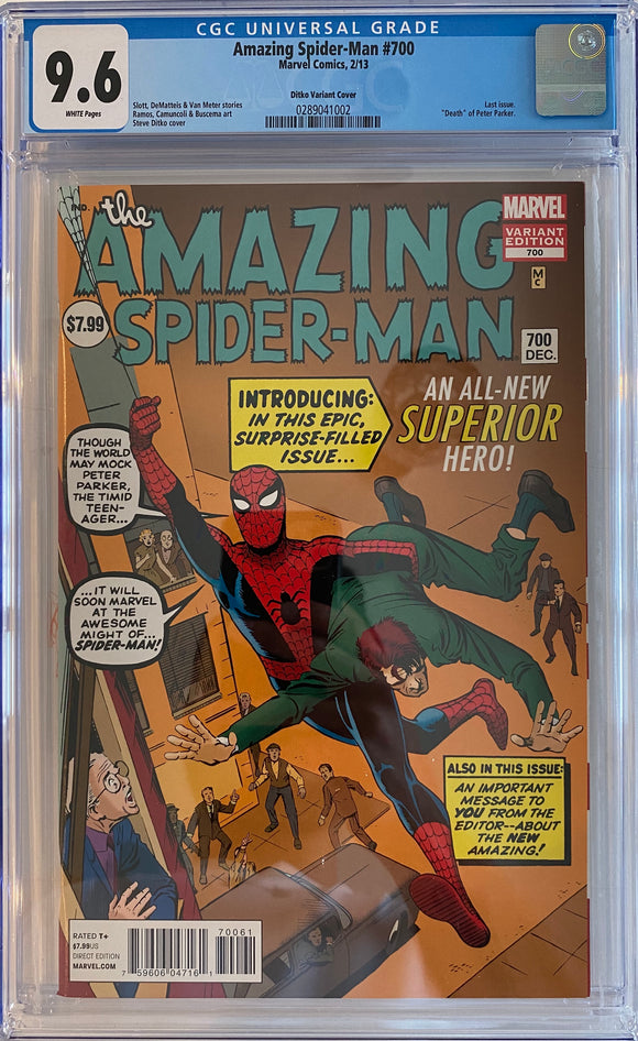 Amazing Spider-Man #700 CGC 9.6 White Pages ~DITKO VARIANT COVER~