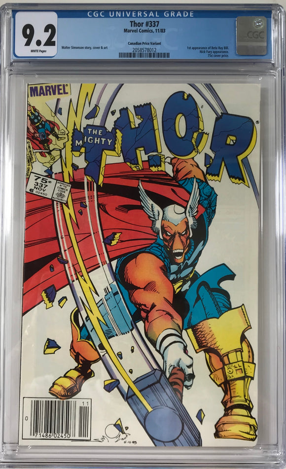 Thor #337 CGC 9.2 White Pages ~CANADIAN VARIANT~