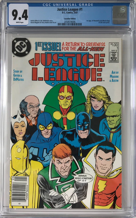 Justice League#1 CGC 9.4 White Pages ~CANADIAN VARIANT~