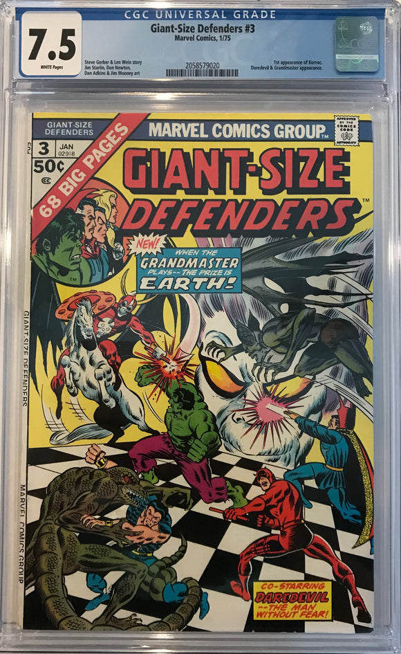 Giant-Size Defenders #3 CGC 7.5 White Pages