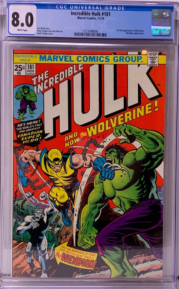 Incredible Hulk #181 CGC 8.0 White Pages