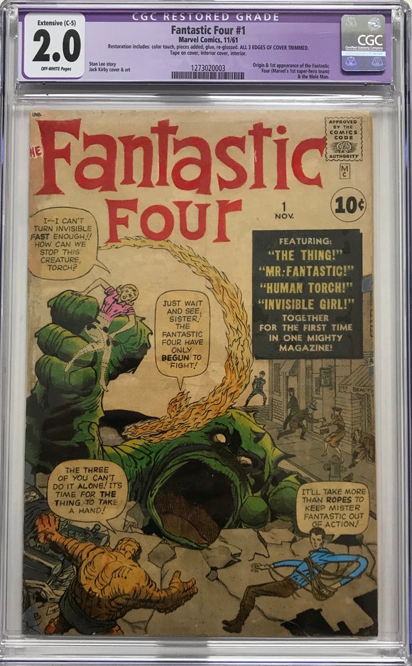 Fantastic Four #1 CGC 2.0 CGC 2.0 Off-White Pages Extensive (C-5)