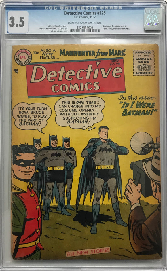 Detective Comics #225 CGC 3.5 Light Tan to Off-White Pages