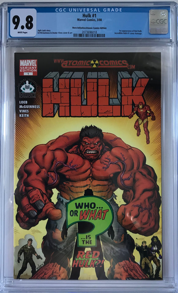 Hulk #1 CGC 9.8 White Pages ~HERO INITIATIVE/ATOMIC COMICS~