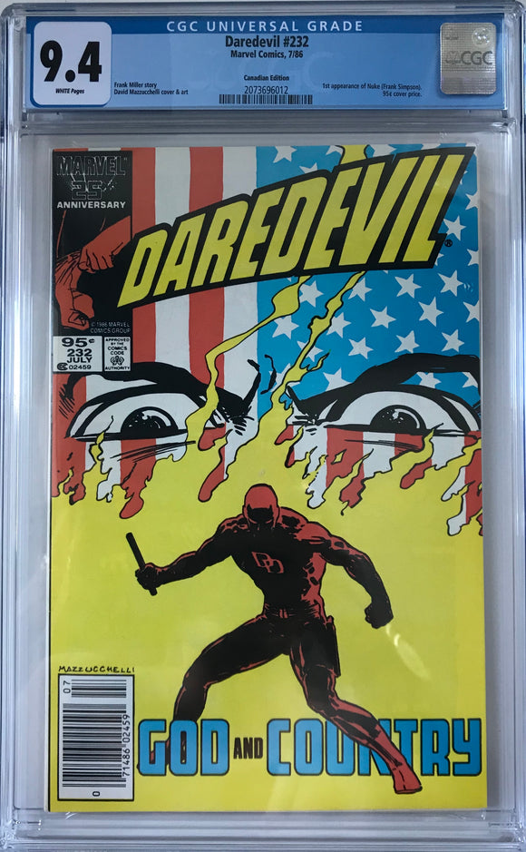 Daredevil #232 CGC 9.4 White Pages ~CANADIAN VARIANT~