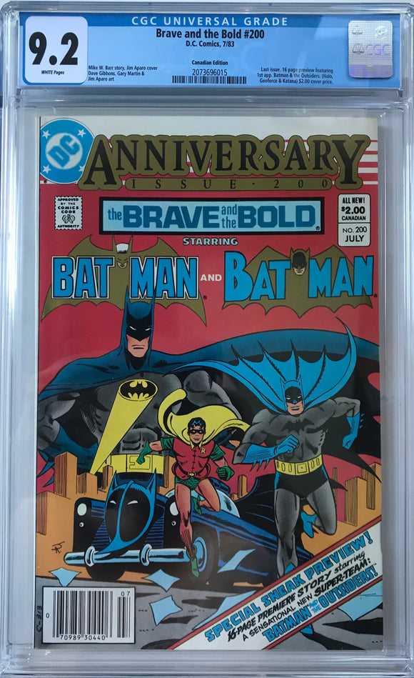 Brave and the Bold #200 CGC 9.2 White Pages ~CANADIAN VARIANT~