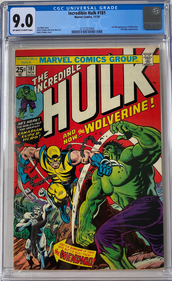 Incredible Hulk #181 CGC 9.0 Off-White to White Pages