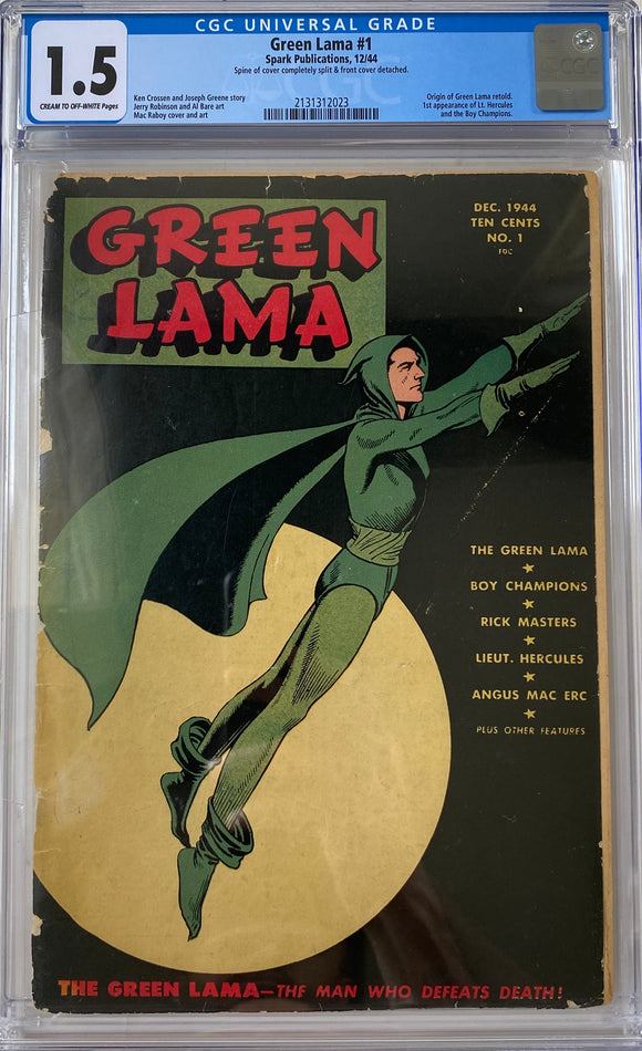 Green Lama #1 CGC 1.5 Cream to Off-White Pages