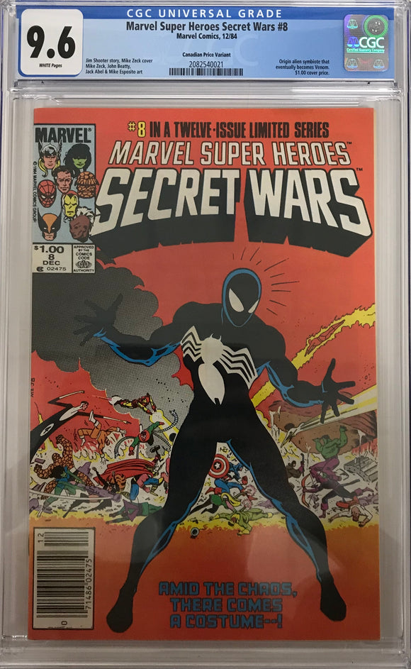 Marvel Super Heroes Secret Wars #8 CGC 9.6 White Pages ~Canadian Price Variant~